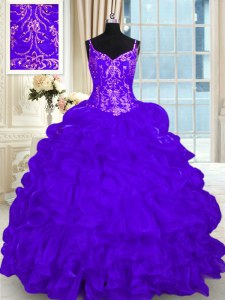 Cheap Sleeveless Organza Brush Train Lace Up Ball Gown Prom Dress in Purple with Beading and Embroidery and Ruffles and Pick Ups