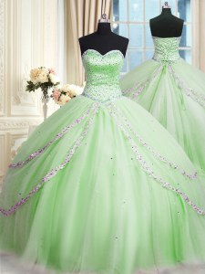 Sophisticated Apple Green Lace Up Quinceanera Dress Beading and Appliques Sleeveless With Train Court Train
