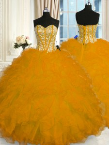Super Gold Ball Gowns Beading and Ruffles Sweet 16 Quinceanera Dress Lace Up Organza Sleeveless Floor Length