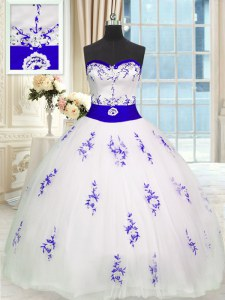 Floor Length White Ball Gown Prom Dress Tulle Sleeveless Embroidery and Belt