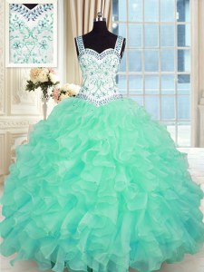 Dazzling Floor Length Turquoise Vestidos de Quinceanera Organza Sleeveless Beading and Appliques and Ruffles