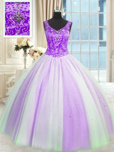 White And Purple Vestidos de Quinceanera Military Ball and Sweet 16 and Quinceanera and For with Beading and Sequins V-neck Sleeveless Lace Up