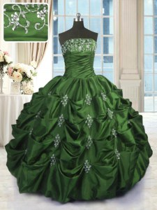 Green Ball Gown Prom Dress Military Ball and Sweet 16 and Quinceanera and For with Beading and Appliques and Embroidery and Pick Ups Strapless Sleeveless Lace Up