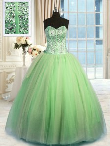 New Style Green Sweetheart Neckline Beading and Ruching Vestidos de Quinceanera Sleeveless Lace Up