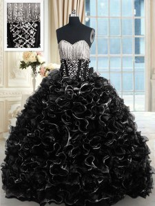 Black Sleeveless With Train Beading and Ruffles Lace Up Sweet 16 Dresses