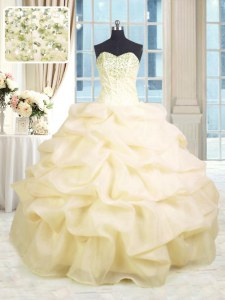 Lovely Champagne Sweetheart Neckline Beading and Ruffles Quince Ball Gowns Sleeveless Lace Up