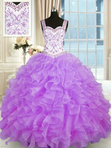 Sweetheart Sleeveless Quinceanera Dresses Floor Length Beading and Appliques and Ruffles Lilac Organza