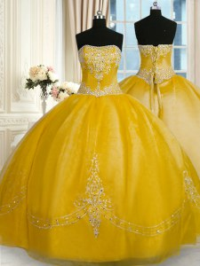 Sweet Strapless Sleeveless Organza Quinceanera Gowns Beading and Embroidery Lace Up