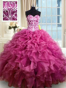 High Class Fuchsia Ball Gown Prom Dress Military Ball and Sweet 16 and Quinceanera and For with Beading and Ruffles Sweetheart Sleeveless Lace Up