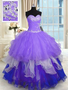 Sleeveless Floor Length Beading and Ruffles Lace Up Sweet 16 Quinceanera Dress with Multi-color