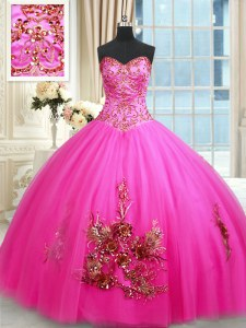Shining Hot Pink Sleeveless Beading and Appliques and Embroidery Floor Length Quinceanera Dress