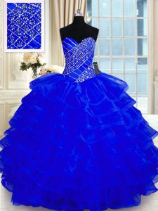 Cute Ruffled Sweetheart Sleeveless Lace Up Vestidos de Quinceanera Royal Blue Organza