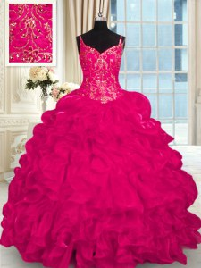 Spaghetti Straps Sleeveless Organza 15th Birthday Dress Beading and Embroidery and Ruffles Brush Train Lace Up