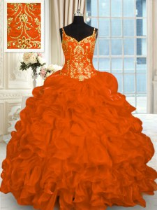 Sleeveless Brush Train Lace Up Beading and Ruffles Quinceanera Gowns