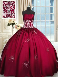 Wine Red Taffeta Lace Up Sweet 16 Dress Sleeveless Floor Length Beading and Appliques and Ruching