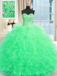 Adorable Sleeveless Floor Length Beading and Ruffles Lace Up 15th Birthday Dress with Apple Green