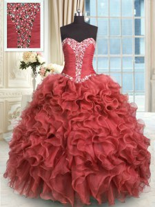 Amazing Sleeveless Organza Floor Length Lace Up Ball Gown Prom Dress in Rust Red with Beading and Ruffles