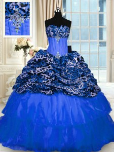 Printed Sequins Floor Length Blue Vestidos de Quinceanera Strapless Sleeveless Lace Up