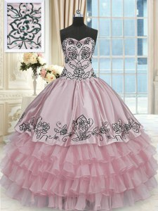 Pink Sleeveless Beading and Embroidery and Ruffled Layers Floor Length Sweet 16 Dress