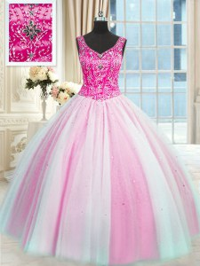 Noble Baby Pink and Pink And White Lace Up 15th Birthday Dress Beading Sleeveless Floor Length