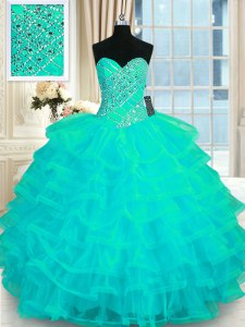 Pretty Floor Length Turquoise Sweet 16 Dress Organza Sleeveless Beading and Ruffled Layers