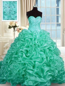 Hot Selling Sleeveless Beading and Pick Ups Lace Up Quinceanera Dress