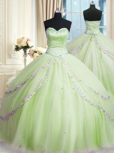 Flare Yellow Green Lace Up Sweet 16 Quinceanera Dress Beading and Appliques Sleeveless With Train Court Train