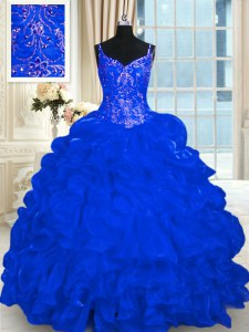 Spaghetti Straps Sleeveless Ball Gown Prom Dress Brush Train Beading and Embroidery and Ruffles and Pick Ups Royal Blue Organza