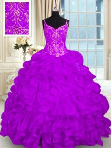 Custom Design Organza Sleeveless 15th Birthday Dress Brush Train and Beading and Embroidery and Ruffles