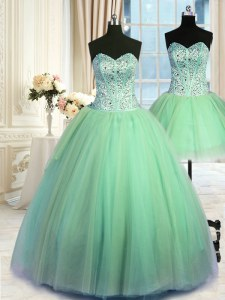 Three Piece Tulle Lace Up Sweetheart Sleeveless Floor Length Quinceanera Gowns Beading