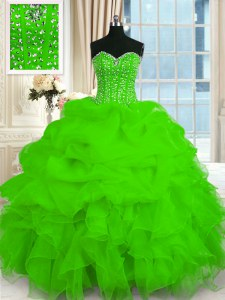 Latest Organza Lace Up Sweetheart Sleeveless Floor Length 15th Birthday Dress Beading and Ruffles