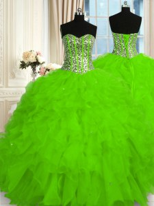 Luxury Organza Sleeveless Floor Length Sweet 16 Quinceanera Dress and Beading and Ruffles