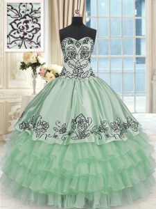Flirting Organza and Taffeta Sleeveless Floor Length Sweet 16 Quinceanera Dress and Beading and Embroidery and Ruffled Layers