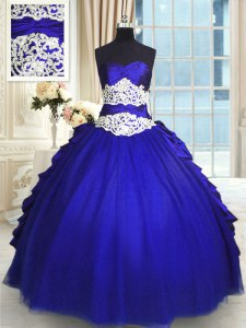 Pick Ups Royal Blue Sleeveless Taffeta and Tulle Lace Up Quinceanera Dress for Military Ball and Sweet 16 and Quinceanera