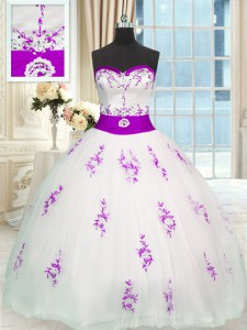 Sleeveless Appliques and Belt Lace Up Quinceanera Dresses