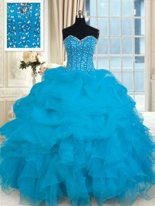 Clearance Floor Length Lace Up Quinceanera Dresses Baby Blue for Military Ball and Sweet 16 and Quinceanera with Beading and Ruffles