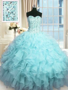 Enchanting Organza Sweetheart Sleeveless Lace Up Beading and Ruffles and Sequins Quinceanera Gowns in Baby Blue