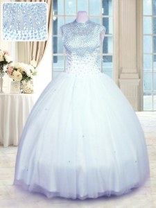 Sweet Sleeveless Floor Length Beading Zipper Sweet 16 Dresses with Baby Blue
