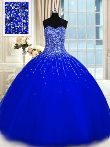 Captivating Royal Blue Sweetheart Lace Up Beading Sweet 16 Dresses Sleeveless