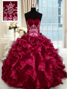 High Quality Sweetheart Sleeveless Lace Up 15 Quinceanera Dress Wine Red Organza