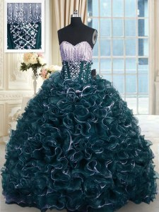Customized Beading and Ruffles Quinceanera Gown Teal Lace Up Sleeveless With Brush Train