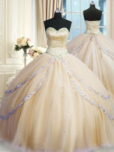 Delicate Champagne Sweetheart Lace Up Beading and Appliques 15th Birthday Dress Court Train Sleeveless