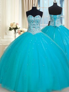 Gorgeous Aqua Blue Ball Gowns Tulle Sweetheart Sleeveless Beading and Sequins Floor Length Lace Up Vestidos de Quinceanera