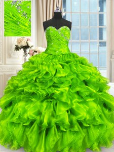 Organza Lace Up Sweetheart Sleeveless Floor Length Quinceanera Gown Beading and Ruffles and Ruching