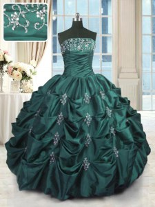 Peacock Green Sleeveless Beading and Appliques and Embroidery and Pick Ups Floor Length Quinceanera Dresses