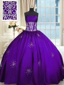 Purple Quinceanera Dress Military Ball and Sweet 16 and For with Beading and Appliques and Ruching Sweetheart Sleeveless Lace Up