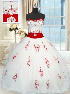 White Quinceanera Dress Military Ball and Sweet 16 and Quinceanera and For with Appliques and Belt Sweetheart Sleeveless Lace Up