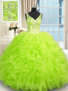 Ball Gowns V-neck Sleeveless Organza Floor Length Zipper Beading and Ruffles Sweet 16 Dresses