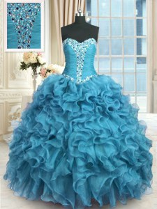 Spectacular Floor Length Lace Up Quinceanera Gown Baby Blue for Military Ball and Sweet 16 and Quinceanera with Beading and Ruffles