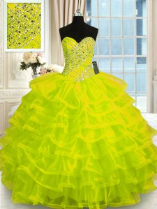 Charming Yellow Green Sweetheart Lace Up Beading and Ruffled Layers Quinceanera Dress Sleeveless